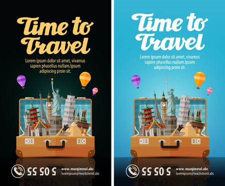 valigia: viaggio. viaggio. viaggio in mondo. valigia aperta con punti di riferimento. vacanza Vettoriali