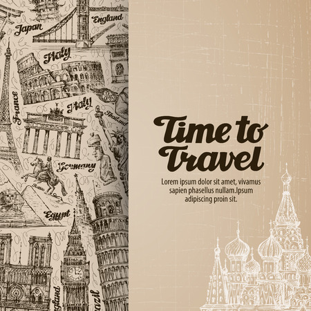 journey, travel. design template banner or flyer. vector illustration Stock fotó - 57686094