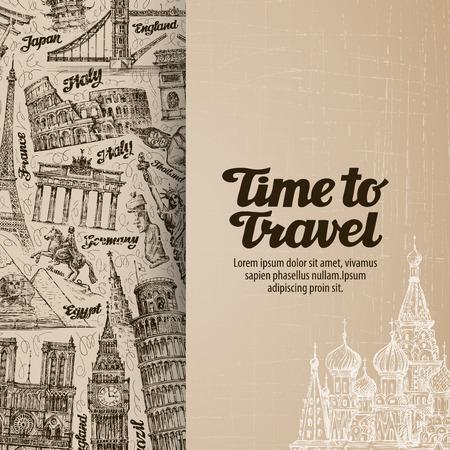 journey, travel. design template banner or flyer. vector illustration Vettoriali