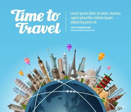 ricreazione: Luoghi di interesse sul globo. Viaggio a mondo. Turismo o una vacanza Vettoriali