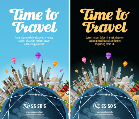 Trip to world. Travel. Landmarks on the globe. Vacation or tourism Ilustração