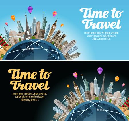 cruise cartoon: Travel to world. Trip. Landmarks on the globe. Vacation or tourism Illustration