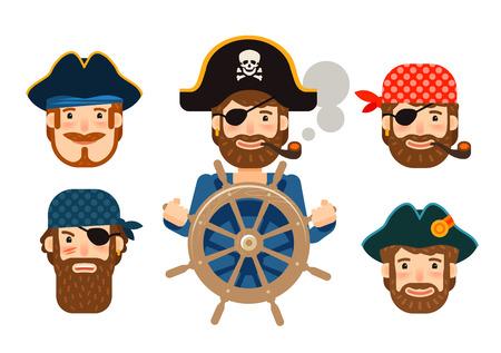Piraat aan het roer van het schip. Zeerover. Funny zeiler. Cartoon plat ontwerp Vector Illustratie