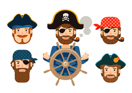 cruise travel: Pirate at the helm of ship. Corsair. Funny sailor. Cartoon flat design