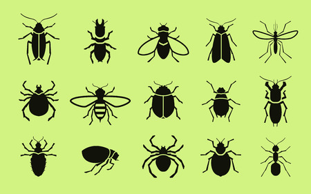 extermination: Insects icon set. Pest control illustration