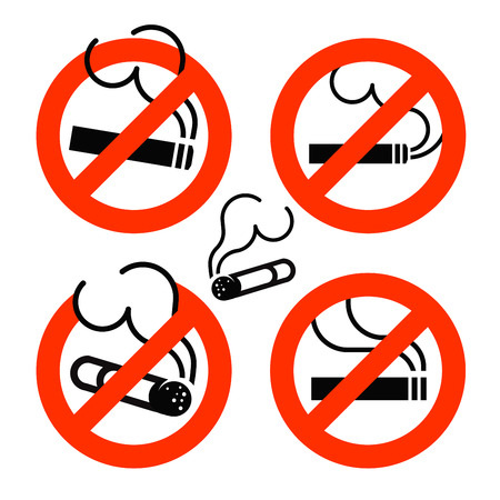 pernicious: Cigarette icons set. No Smoking prohibition sign. Nicotine illustration Illustration