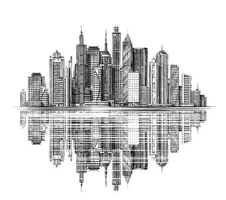 Moderna silueta horizonte de la ciudad. Arquitectura y Edificios. dibujado a mano paisaje urbano boceto Ilustración de vector