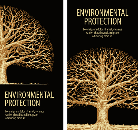 roble arbol: Árbol, roble con ramas retorcidas. Protección del medio ambiente. Naturaleza. Flora Vectores