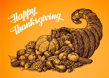 plenty: Thanksgiving Day. Hand drawn illustration Cornucopia or Horn of Plenty. Vegetables and Fruits