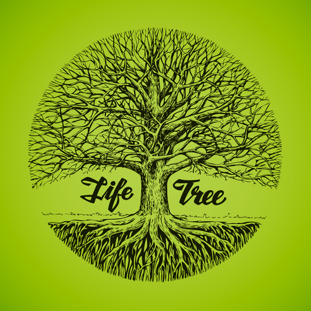 Hand drawn sketch tree with roots. Ecology, environment. Nature Illustration