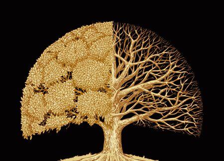roble arbol: Dibujado a mano boceto del árbol. protección del medio ambiente o la naturaleza. roble viejo retro Foto de archivo