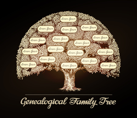 family history: Family tree in vintage style. Illustration