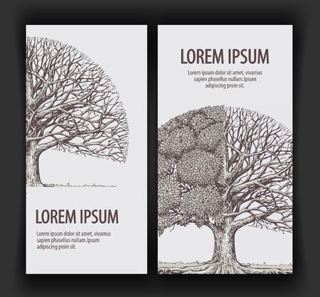 dibujos lineales: árbol de la vendimia. Plantilla de diseño de la ecología bandera o naturaleza, bosque