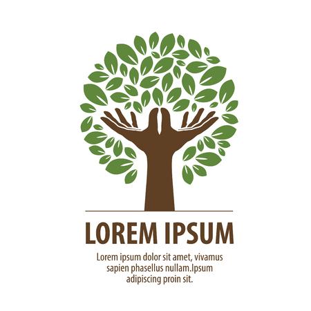 Streszczenie Drzewo wykonane z rąk i liści. Ikona charakter lub ekologii. Ikona, symbol