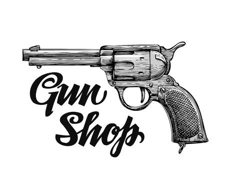 arm tattoo: Hand drawn retro vector Firearm. Antique arms. Gun shop