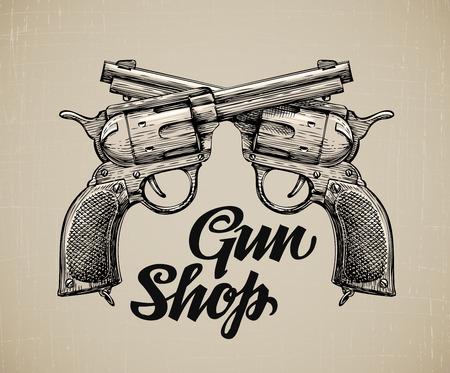 Crossed Pistols. Hand drawn sketch Gun. Vector illustration