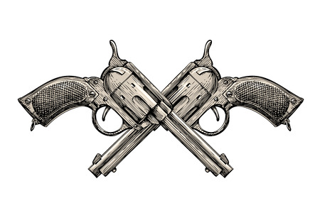 gunfire: Crossed Revolvers. Vintage guns hand drawn. Gun, firearms vector illustration