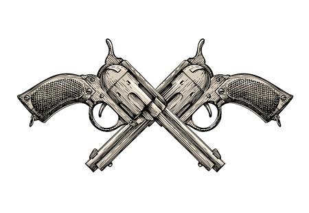 Crossed Revolvers. Vintage guns hand drawn. Gun, firearms vector illustration