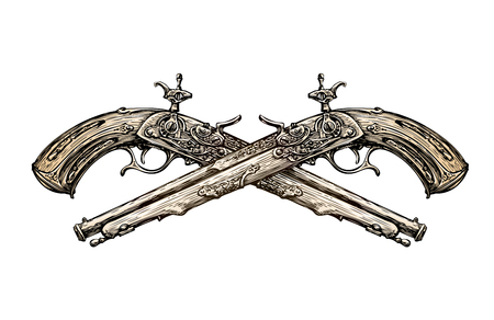 weapon: Crossed vintage Pistols. Hand-drawn sketch ancient weapon. Duel. Vector illustration Illustration