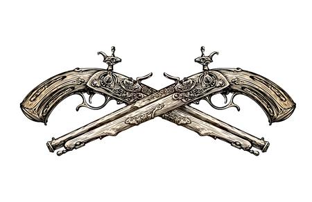 Pistolas cruzadas de la vendimia. Dibujados a mano arma antigua boceto. Duelo. ilustración vectorial