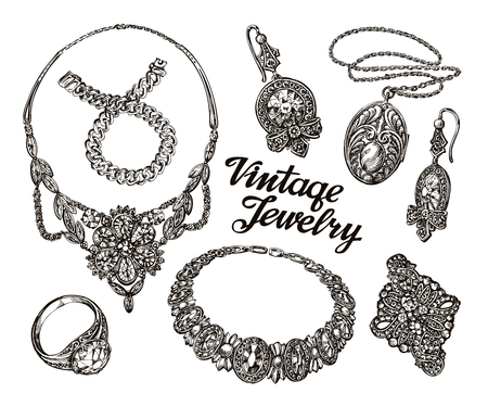 broach: Collection vintage Jewelry. Gold and Precious Stones. Hand-drawn sketches vector illustration