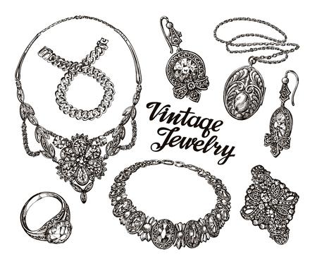 pietre preziose: Collezione di gioielli d'epoca. Oro e pietre preziose. schizzi disegnati a mano illustrazione vettoriale Vettoriali