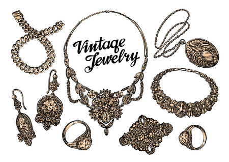 Hand-drawn jewelry set. Gold and gems. Sketch vector illustration