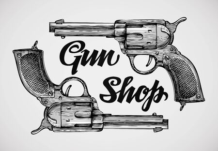 Hand-drawn pistols. Gun shop. Sketch revolver vector illustration