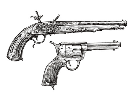ビンテージ銃。レトロなピストル、マスケット銃。拳銃、武器、銃器の手描きのスケッチ