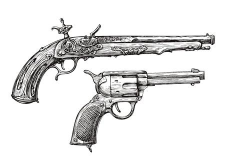 gunfire: Vintage Gun. Retro Pistol, Musket. Hand drawn sketch of a Revolver, Weapon, Firearm