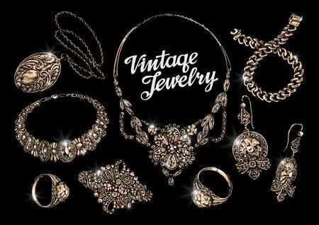 jeweller: jewelry. hand-drawn bracelet, rings, pendant necklace chain brooch earrings Illustration