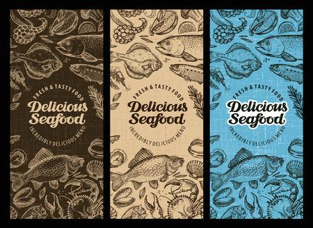 seafood: Seafood restaurant brochure, menu design. Hand-drawn food graphic