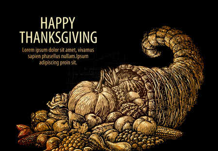 horn of plenty: Happy Thanksgiving. Horn of plenty. Cornucopia with fruits, vegetables