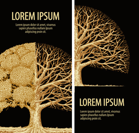 bionomics: nature brochure, ecology design. Hand-drawn tree graphic