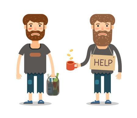 Elemosine per i poveri. Homeless o sulla strada mendicante. uomo infelice in stracci sporchi