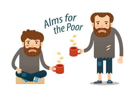 unwashed: street beggar. hungry man asks for money with a mug in hand.