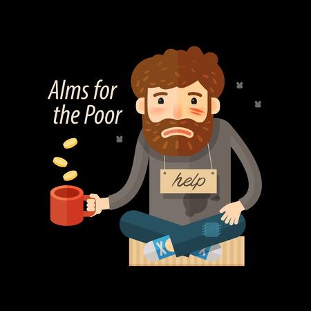 Street beggar. Unemployed or homeless icon. Alms vector illustration