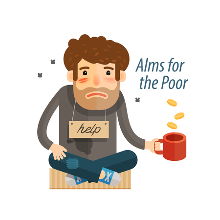 Homeless. Poor man in dirty rags, with mug in hand begging. Vector illustration