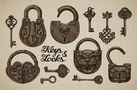Vintage Keys and Locks. Hand drawn collection of vector retro objects Çizim