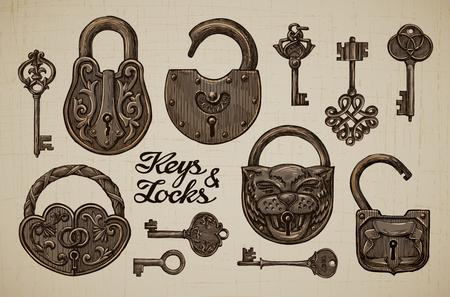 antik: Vintage-Schlüssel und Schlösser. Hand gezeichnet Sammlung von Vektor Retro-Objekte