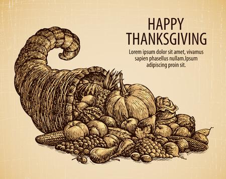 Thanksgiving day. Vakantie wenskaart. Vintage schets hoorn des overvloeds met fruit, groenten