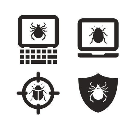 cyber defence: Antivirus icon. laptop, computer, pc sign or pictograph