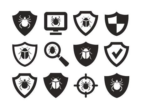 antivirus: Antivirus protection. web icons set. vector illustration