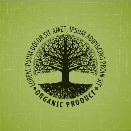 appletree: Leafless tree with roots. Organic product