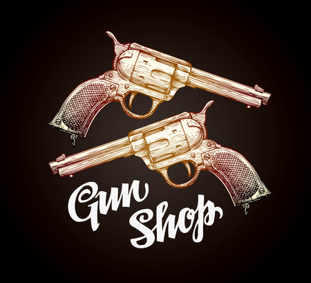 shootout: Old revolver, handgun. Cowboy gun vector illustration Illustration
