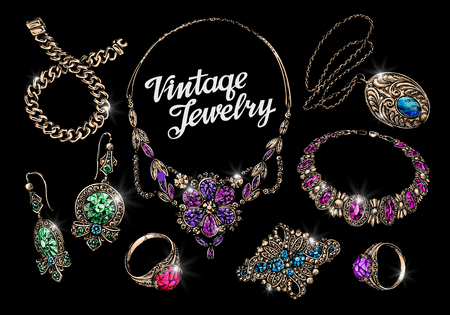 bijouterie: Vintage jewelry, gems. Hand-drawn gold and silver vector illustration