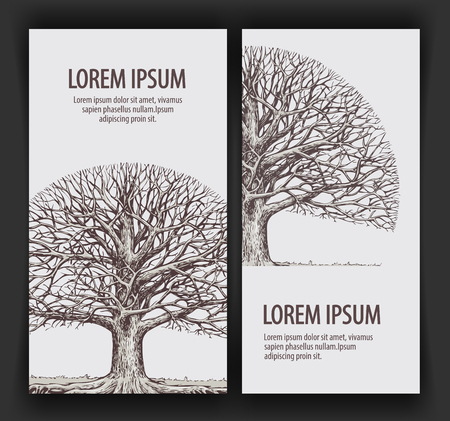 without: Tree without leaves. Nature or Ecology. Hand-drawn vector illustration