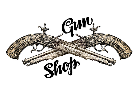 Vintage gun, crossed pistols. Hand-drawn sketch old musket. Vector illustration Illustration