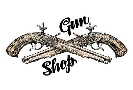 Vintage gun, crossed pistols. Hand-drawn sketch old musket. Vector illustration Illustration