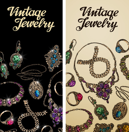Vintage jewelry. Precious metal, gold, silver gems Vector illustration